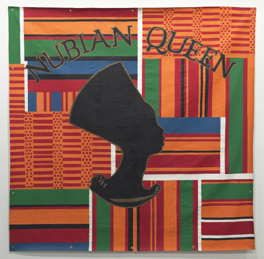 """""""Nubian Queen (Backdrop series),"""" 1993, by Gary Simmons, which will go on view at Frieze Projects."""