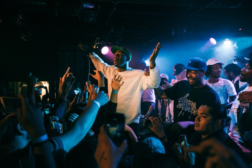 Tyler the Creator performing as a surprise guests with Domo Genesis at Lyric Theater. The theater was forced to close in a permitting dispute with a nearby yeshiva.