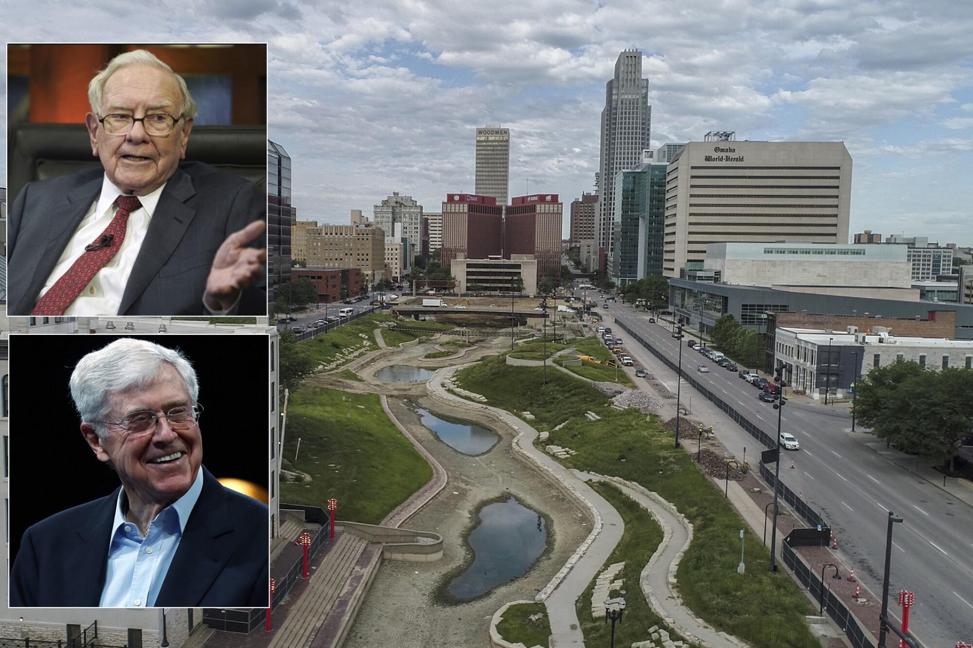 Omaha, shown, is the hometown of Warren Buffett, top inset. Another billionaire, Charles Koch, below, is from Wichita, Kan.