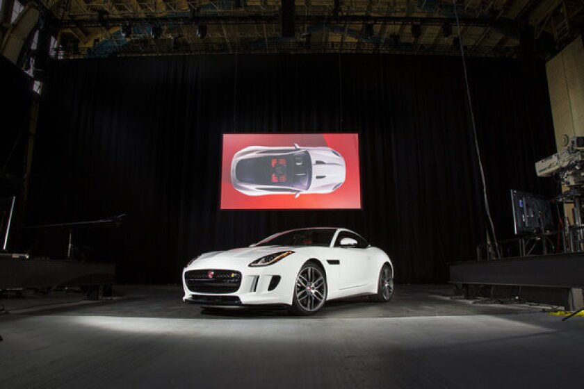 The all-new Jaguar F-Type Coupe on display ahead of the 2013 L.A. Auto Show.