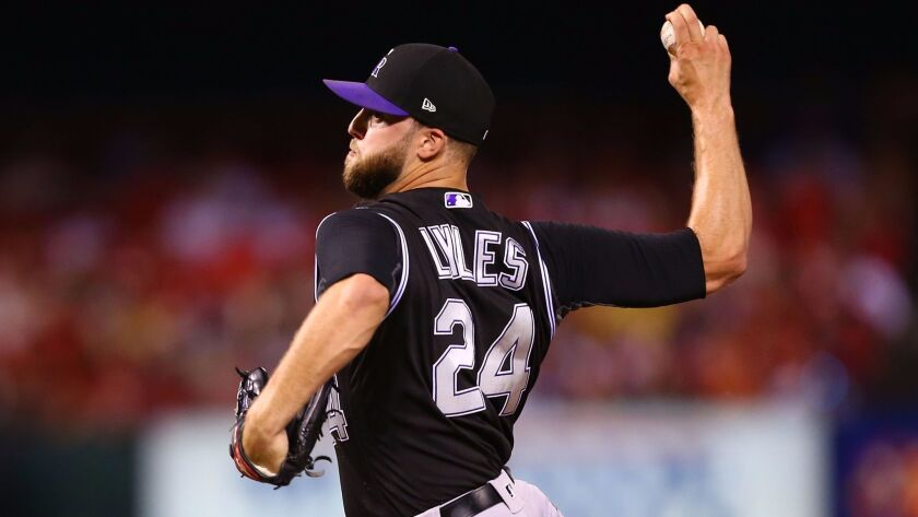 Rockies right-hander Jordan Lyles delivers a pitch against the St. Louis Cardinals in the sixth inning at Busch Stadium on July 26, 2017 in St. Louis, Missouri.