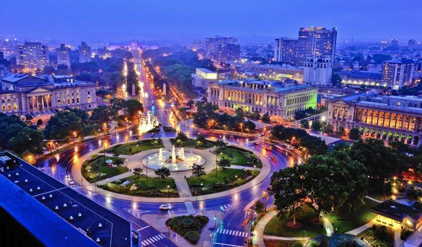 The Philadelphia Museum Art crowns the city's illuminated Benjamin Franklin Parkway.