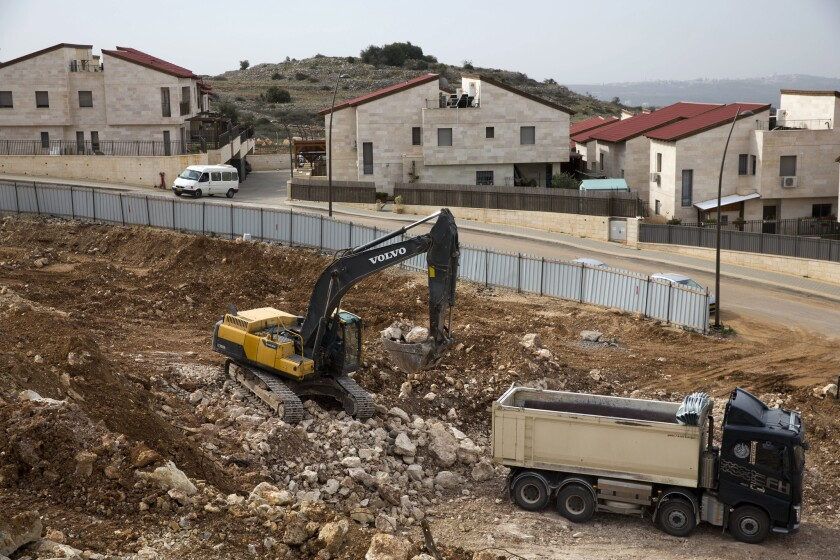 A construction site in the West Bank Jewish settlement of Ariel on Jan. 25, 2017.