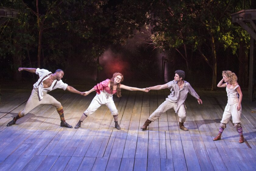 "Nic Few, Ryman Sneed, Adam Gerber and Winslow Corbett (left to right) in the Old Globe's Shakespeare Festival production of ""A Midsummer Night's Dream."""