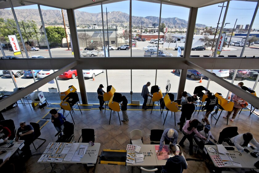 Locals went to vote at IMX Auto Group, at 811 N. Victory Blvd., Burbank on March 3.