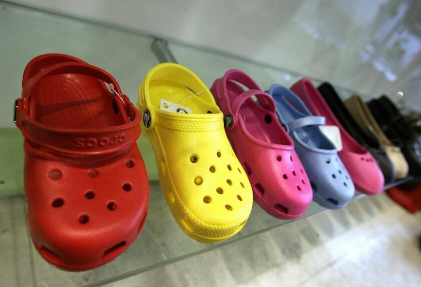 Crocs shoes on display