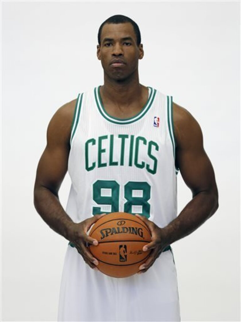 FILE - In a Friday, Sept. 28, 2012 file photo, Boston Celtics' Jason Collins poses during Celtics NBA basketball media day at the team's training facility in Waltham, Mass. NBA veteran center Collins has become the first male professional athlete in the major four American sports leagues to come ou