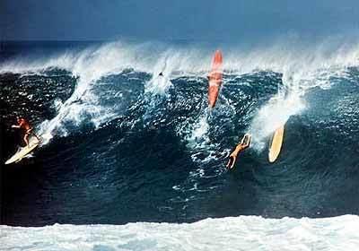 Greg Noll & Friends surfing Waimea, Hawaii, in 1966