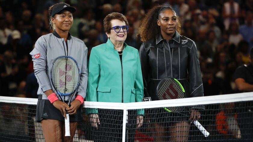 Naomi Osaka, left, of Japan, and Serena Williams, right, pose with Billie Jean King before the women