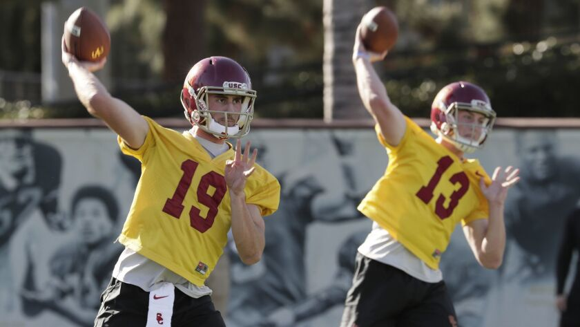 Matt Fink (19) and Jack Sears are two of the quarterbacks competing for the USC starting job.