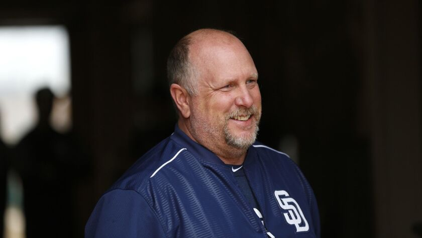 San Diego Padres hitting coach Matt Stairs looks on during spring training in Peoria on Feb. 14, 2018.