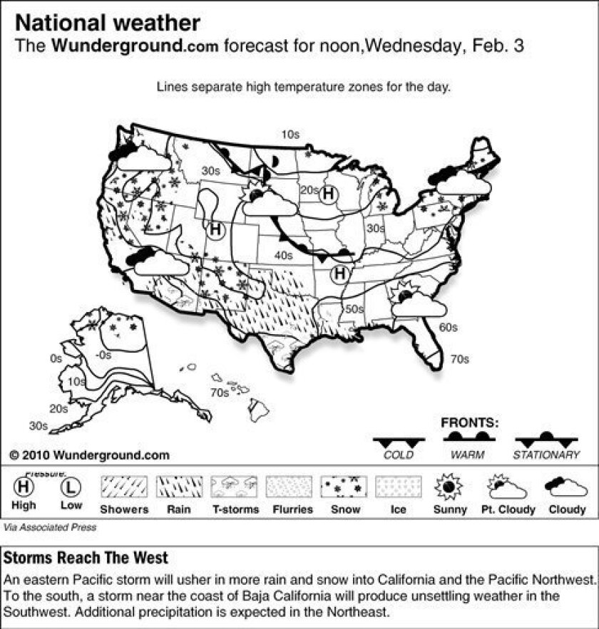 The Weather Underground forecast for Wednesday, Feb. 3, 2010, shows an eastern Pacific storm will usher in more rain and snow into California and the Pacific Northwest. To the south, a storm near the coast of Baja California will produce unsettling weather in the Southwest. Additional precipitation is expected in the Northeast.(AP Photo/Weather Underground)