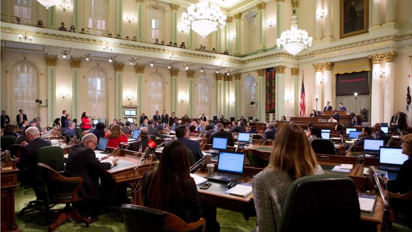 The California State Assembly meets on the first day of the 2018 session at the Capitol in Sacrament