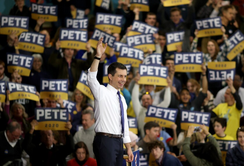 Pete Buttigieg campaigns in New Hampshire.