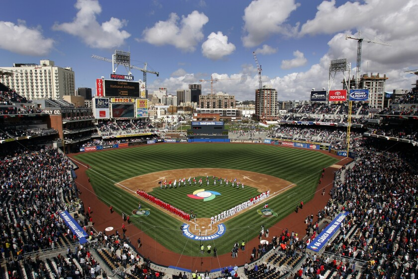 Players line the field at Petco Park for the World Baseball Classic in 2006