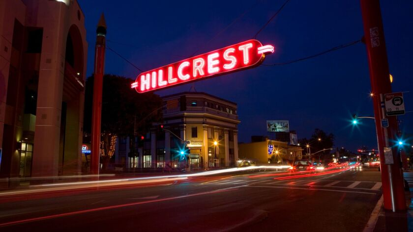 Hillcrest sign on University and 5th avenues.