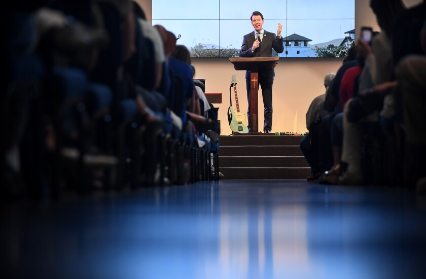 Recall candidate Kevin Kiley speaks to a congregation