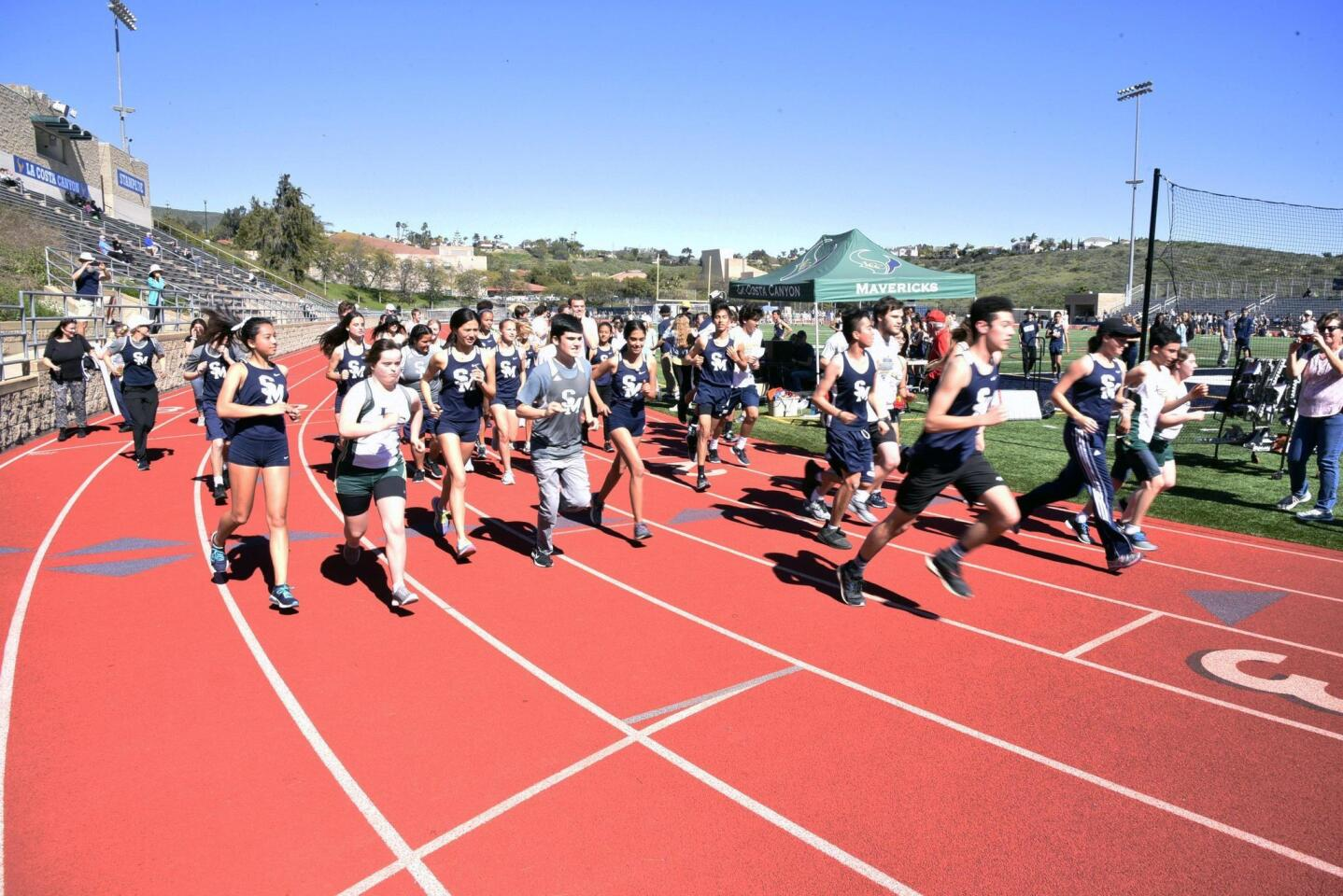 Mile runners at the start of the race