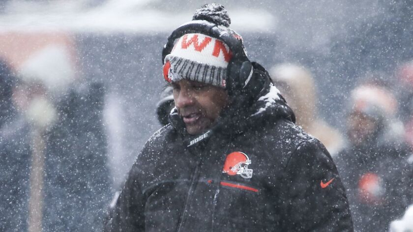 Hue Jackson coaches the Cleveland Browns during a game against the Chicago Bears on Dec. 24.