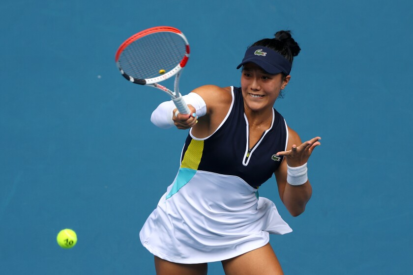 Kristie Ahn plays a forehand during her Australian Open match against Caroline Wozniacki.