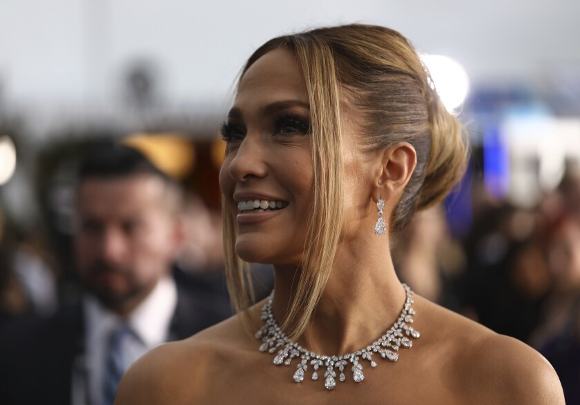 Jennifer Lopez arrives at the 26th annual Screen Actors Guild Awards at the Shrine Auditorium & Expo Hall on Sunday, Jan. 19, 2020, in Los Angeles. (Photo by Matt Sayles/Invision/AP)