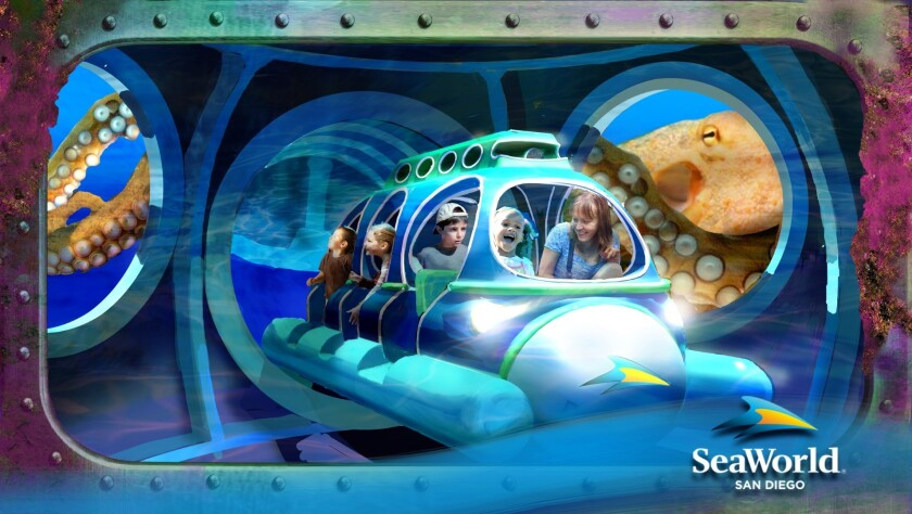 Concept art of the Submarine Quest ride coming to SeaWorld San Diego this summer.