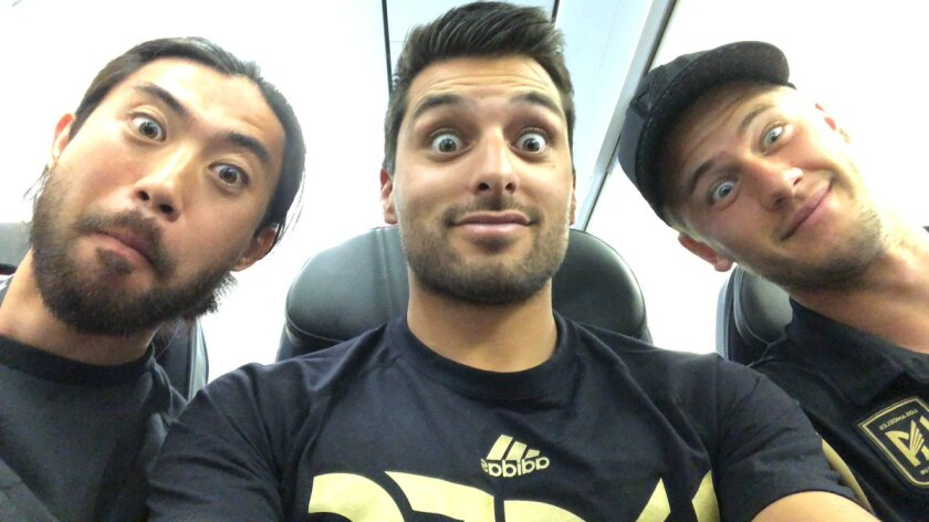 Head performance coach Daniel Guzman, center, is joined by former LAFC players Lee Nguyen, left, and Walker Zimmerman for a Twitter pic.