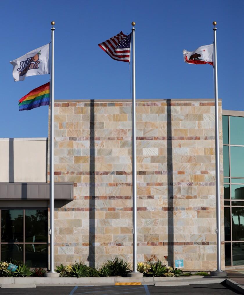 The OC Fair, rainbow, U.S. and California flags