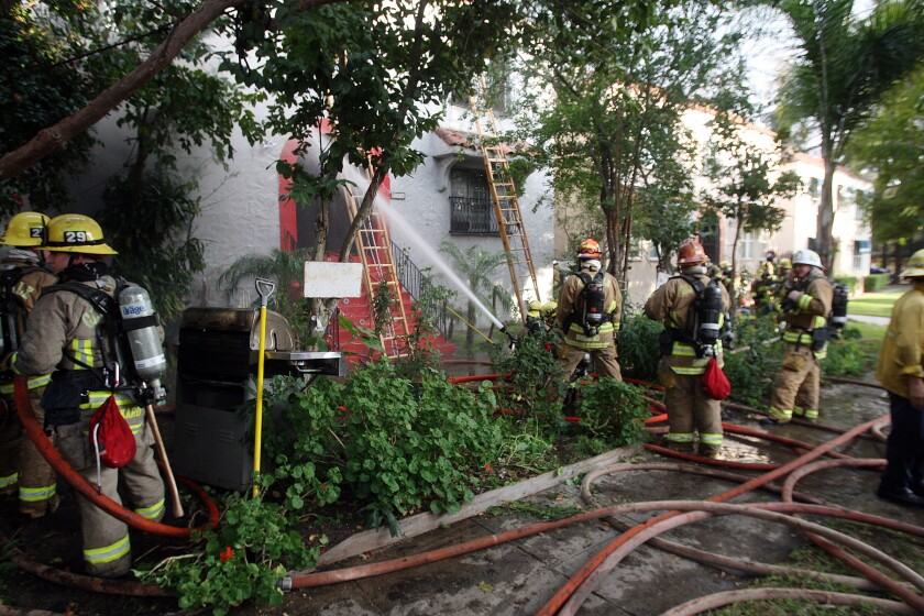 An apartment at 140 Carr Drive in Glendale caught fire on Thursday afternoon. Authorities said six people were rescued and two firefighters incurred minor injuries during the incident.