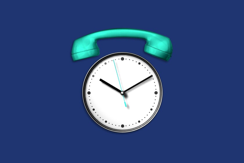 An illustration of a clock that looks like a telephone