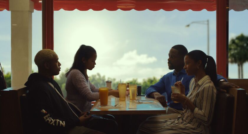 "Kelvin Harrison Jr., left, Taylor Russell, Sterling K. Brown and Renée Elise Goldsberry in the movie ""Waves."""