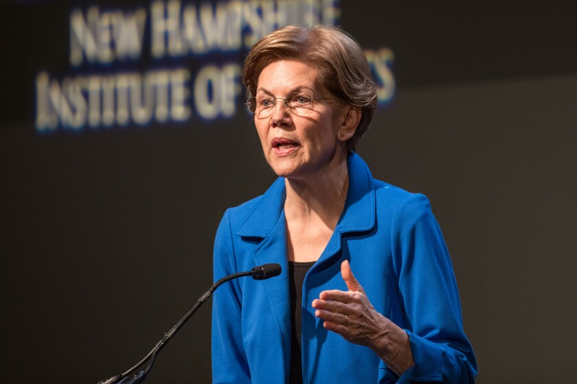 Presidential Candidate Elizabeth Warren Delivers Economic Policy Speech In NH