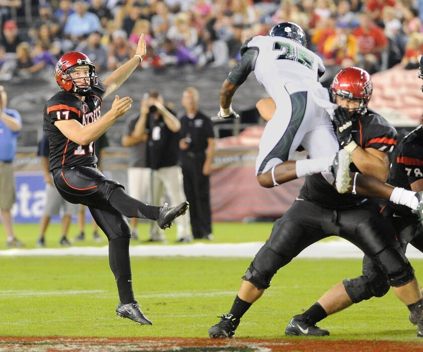 Freshman Seamus McMorrow was the Aztecs' kickoff specialist and punter in 2012.