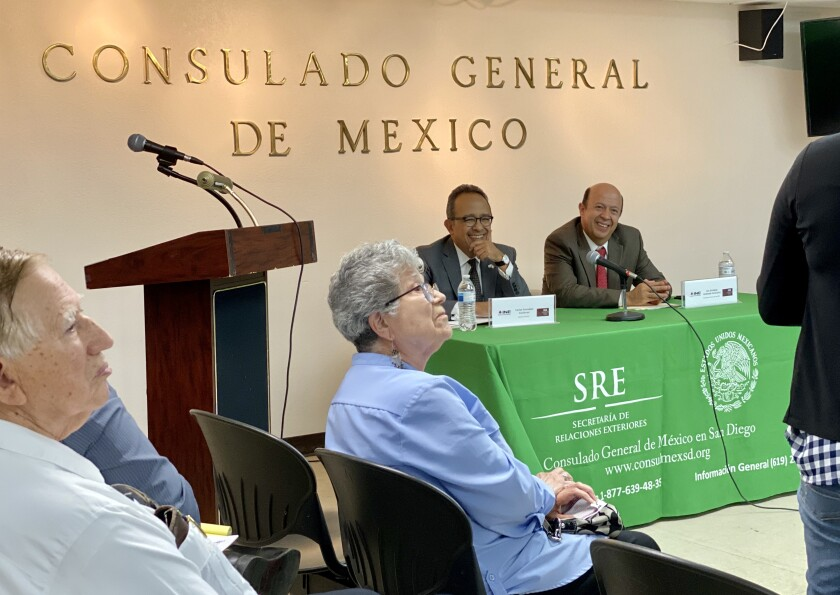 Consul General Carlos González-Gutiérrez (center-left) with Election Counselor Enrique Andrade during a talk with the community at the Consulate of Mexico in San Diego on Thursday, September 26, 2019.