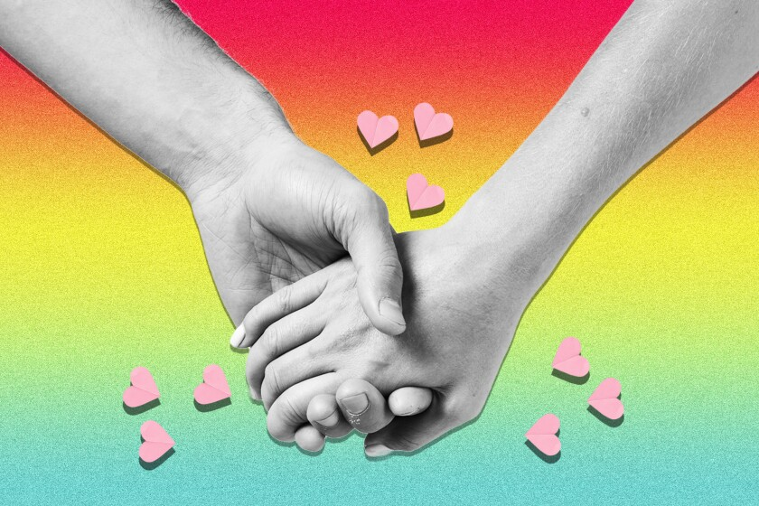 A photo illustration of holding hands.