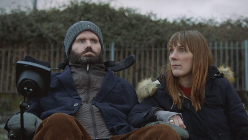 """Irish filmmaker Simon Fitzmaurice and his wife, Ruth Fitzmaurice, in the documentary """"It's Not Yet Dark."""""""