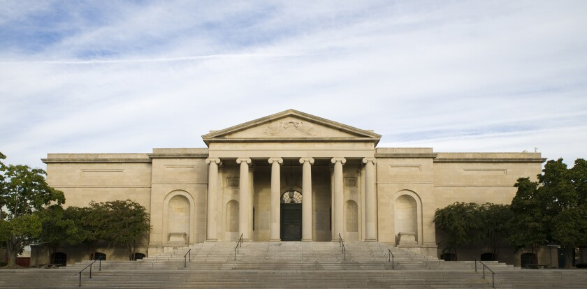 The columned exterior of the Baltimore Museum of Art.