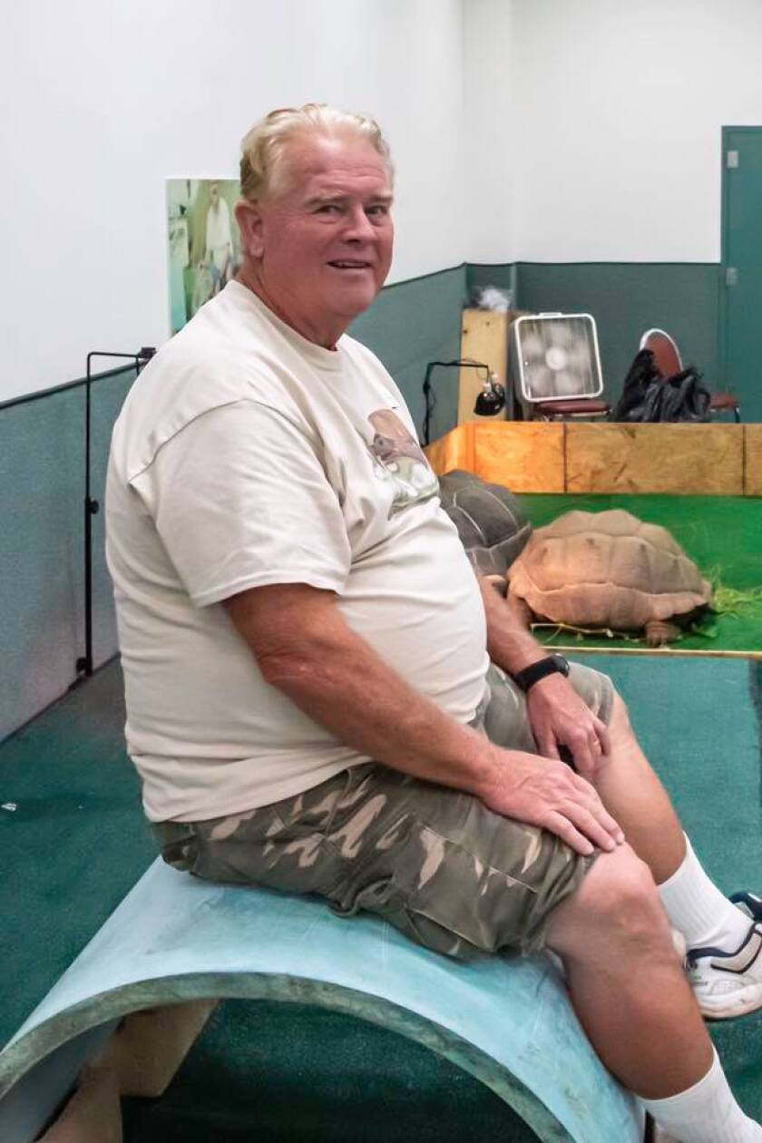 Kim Thomas, photographed at one of the San Diego Turtle & Tortoise Society's shows.