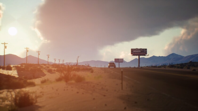 """A car drives through the desert in a scene from """"Life Is Strange 2."""""""