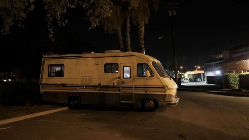 SANTA BARBARA, CA DECEMBER 18, 2017: Kathy, 65, and Phil, 74, live together in this RV along with