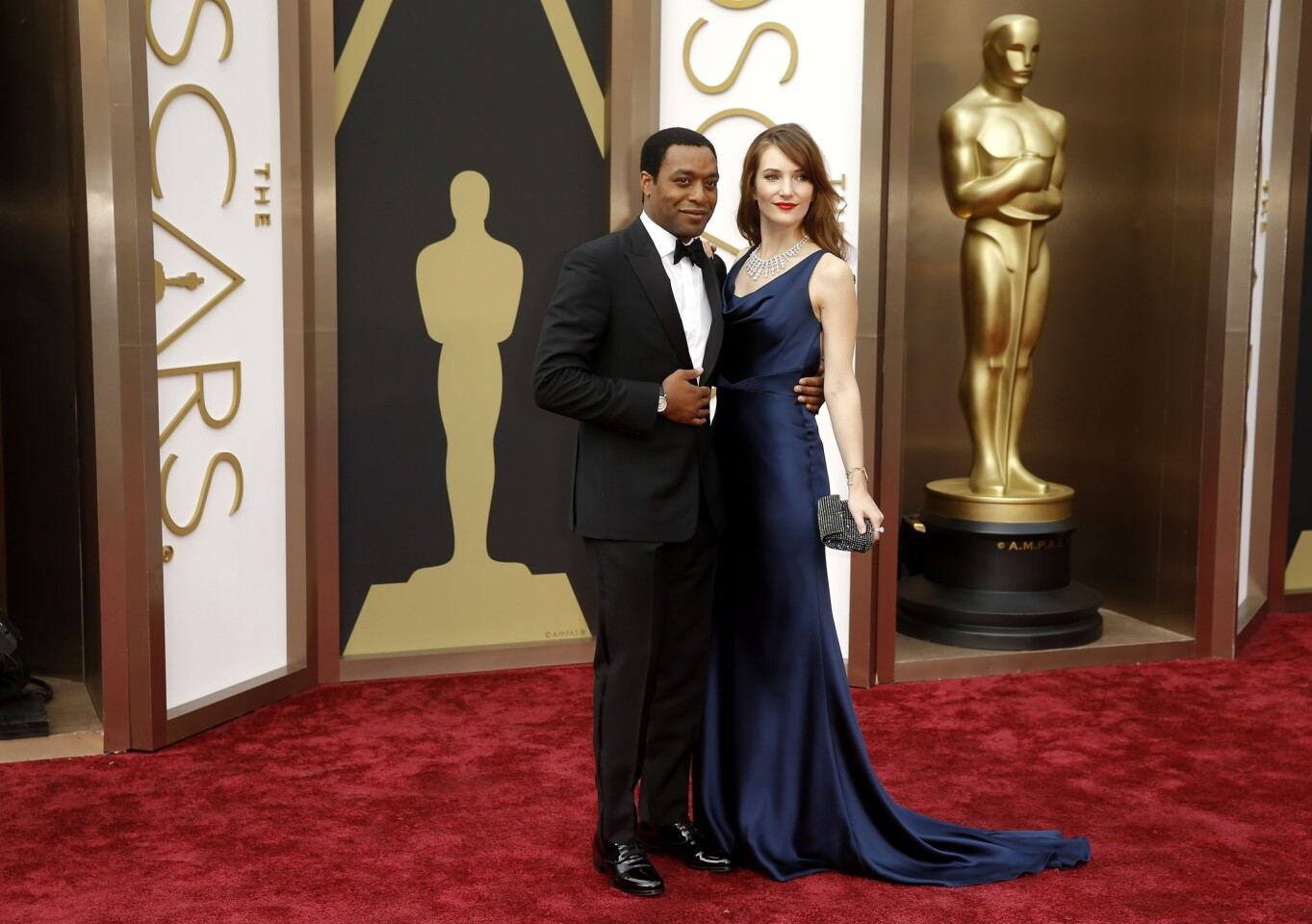 """""""12 Years a Slave"""" lead actor nominee Chiwetel Ejiofor and Sari Mercer"""