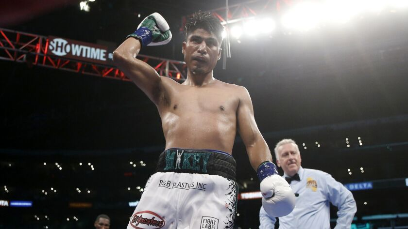 Mikey Garcia celebrates after defeating Robert Easter Jr. during their WBC and IBF world lightweight title bout in Los Angeles on July 28, 2018.