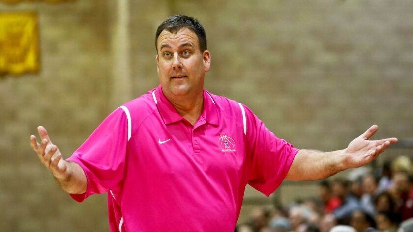 St. Augustine coach Mike Haupt reacts to a call during their game against Cathedral Catholic on Frid