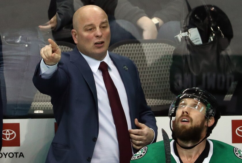 Stars coach Jim Montgomery calls out instructions to his players during a game on Oct. 23.