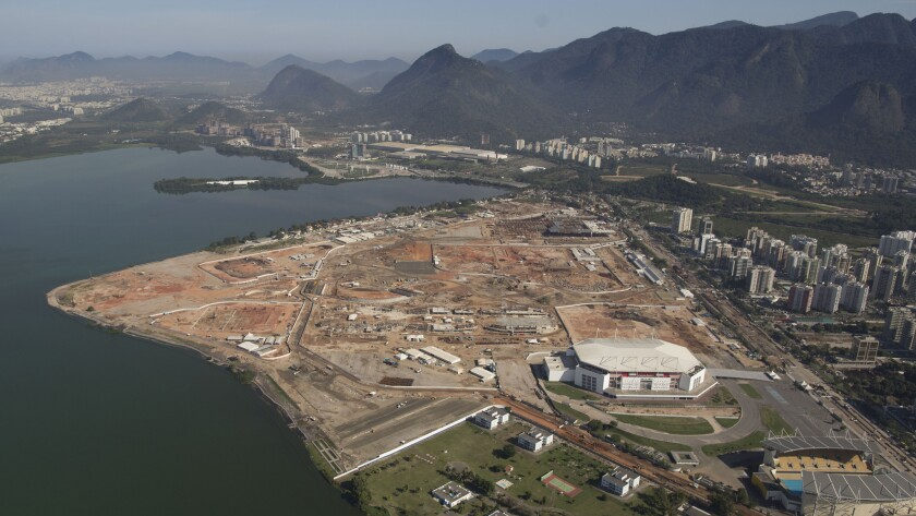 An aerial view of Olympic Park in Rio de Janeiro in June shows that construction has begun on the site. Olympic Park is slated to host many events during the 2016 Summer Olympic Games.