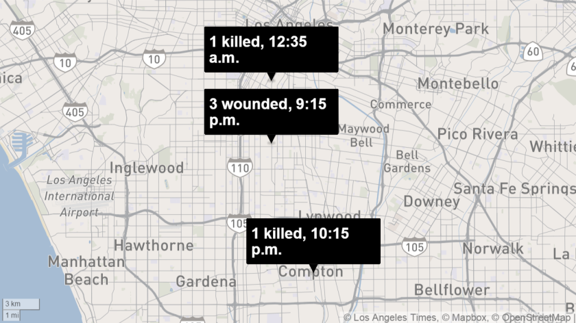 Map shows approximate locations of three shootings that ocurred Saturday and early Sunday.