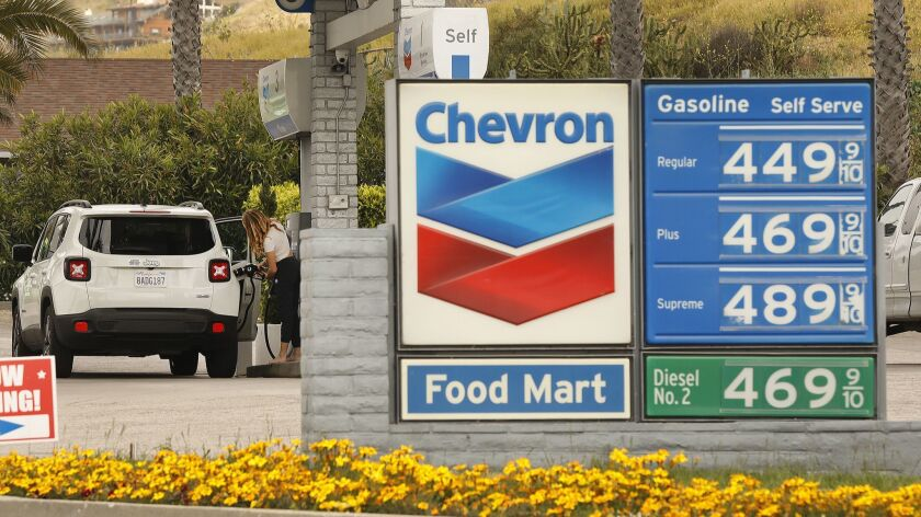 LOS ANGELES, CA - APRIL 15, 2019 - A Chevron Gas Station at the West end of Malibu advertises self