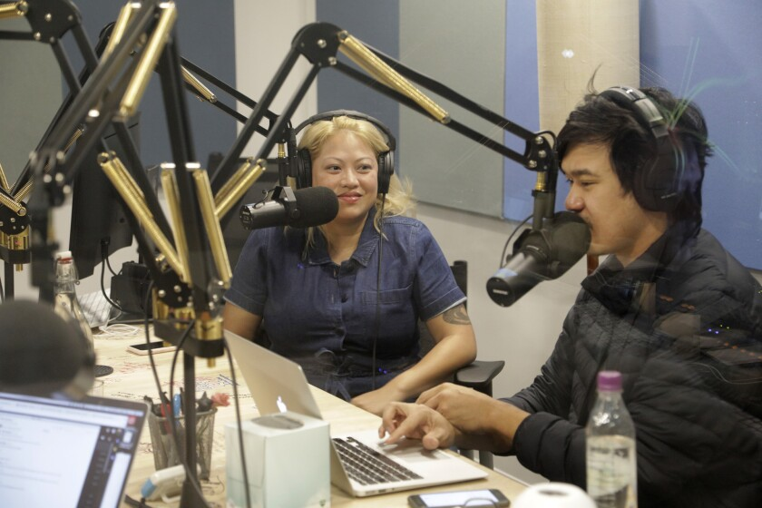 """LOS ANGELES, CA -- DECEMBER 11, 2018: Guest Kulap Vilaysack, left, joins an episode of """"Yo, Is This"""