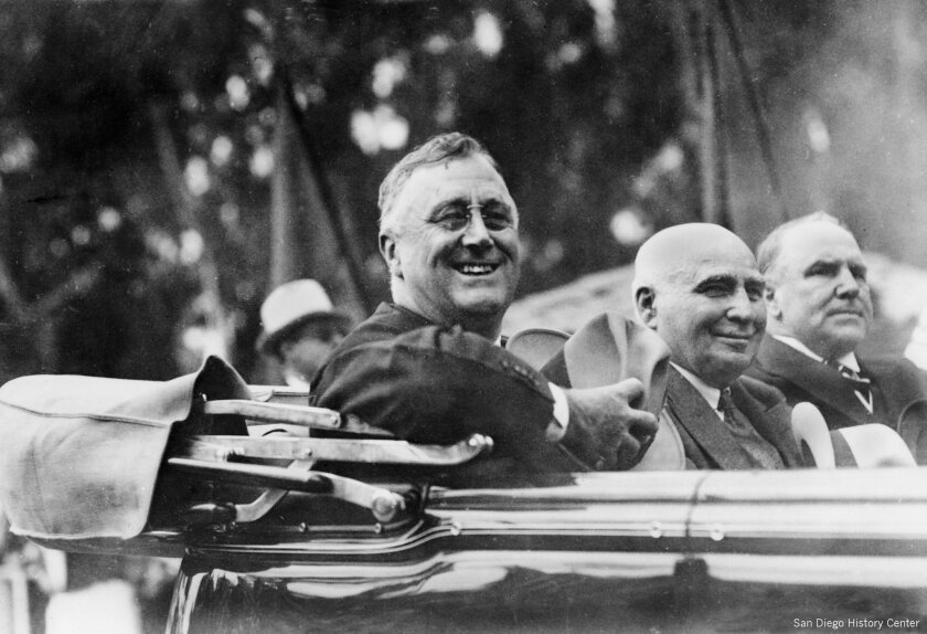 President Franklin D. Roosevelt with California Frank Merriam, center,  and San Diego Mayor Percy  Benbough in their motorcade in October 1935.