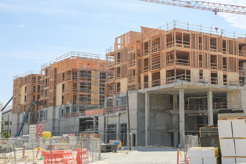 A view of the apartment homes while under construction at One Paseo.